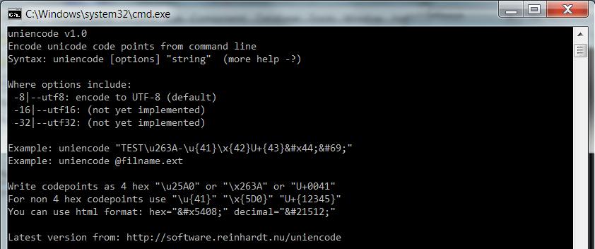 UNIENCODE = Simple Unicode Command Line Encoder